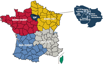 carte de france 5 regions